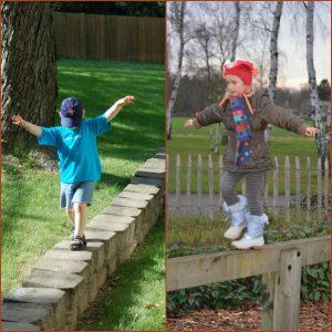 Jongen en meisje op evenwichtsbalk, illustratie evenwichtszin