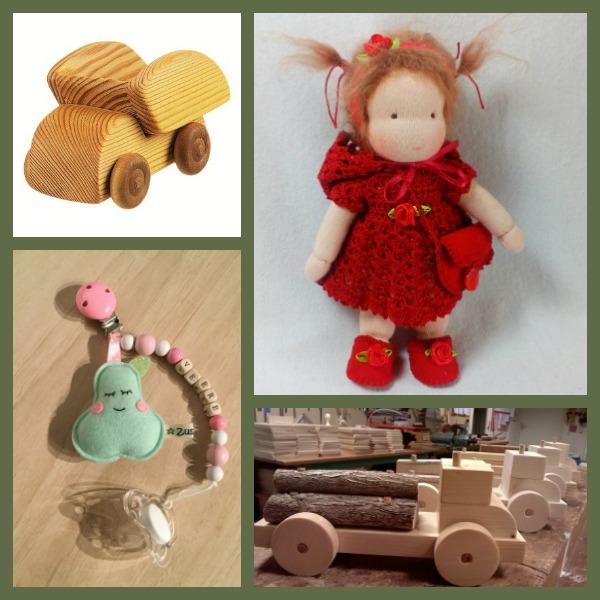 """Collage met 4 stukken speelgoed van natuurlijke materialen bij blog """"over echtheid""""."""